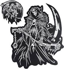 Amazon Com Grim Reaper God Of Death Small Large Skull Embroidered Biker Back Patches For Motorcycle Jacket Vest Set Of 2 Arts Crafts Sewing