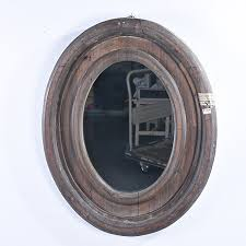 distressed oval wooden wall mirror