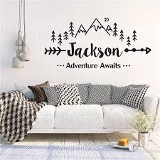 Personalized Name Mountain Nursery Wall Decal Adventure Awaits Arrow Vinyl Stickers For Kids Room Decor Wl1159 Wall Stickers Aliexpress