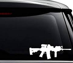 Amazon Com Ar 15 M16 Assault Rifle Gun Decal Sticker For Use On Laptop Helmet Car Truck Motorcycle Windows Bumper Wall And Decor Size 10 Inch 25 Cm Wide Color Gloss White