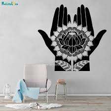 Traditional Arts Vinyl Wall Decal Mehndi Decoration Beauty Girl Hands Henna Lotus Stickers Removable Unique Gift Yt4169 Wall Stickers Aliexpress