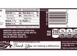 hershey chocolate bar nutrition label