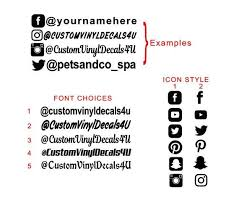Social Media Names Decal Social Media Decals Facebook Instagram Twitter Youtube Pinterest Snapchat Decals Custom Custom Vinyl Decal Font Names Car Decals Vinyl