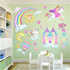 Princess Castle Fairy Unicorn Childrens Room Wall Stickers Kids Girls Bedroom Au Ebay