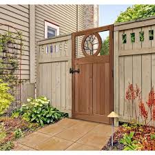 3 5 Ft X 6 Ft Cedar Fence Gate With Round Metal Art Insert 201568 The Home Depot Fence Gate Design Backyard Fence Decor Cedar Fence