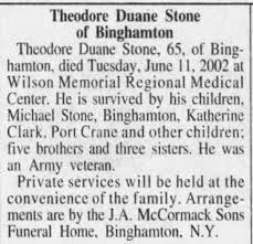 Obituary for Theodore Duane Stone (Aged 65) - Newspapers.com