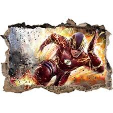 Amazon Com The Flash 3d Smashed Wall Sticker Decal Home Decor Art Mural Marvel J822 Regular Home Kitchen