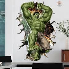 3d Hulk Wall Sticker Cartoon Super Hero Avengers Decal Kids Room Decor Vinyl For Sale Online Ebay