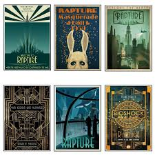 Poster Bioshock Rapture Video Game Movie Posters White Paper Painting Wall Art Picture For Living Room Home Decoration Wall Stickers Aliexpress