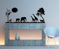 Safari Scene Wall Decal Home Decor 13 X 34 Other Products Amazon Com