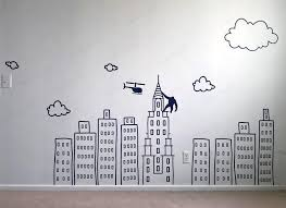 Doodled City Skyline Removable Wall Decal Large Vinyl Etsy In 2020 Boys Wall Decals Removable Wall Decals Wall Decals