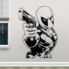 Superhero Deadpool Wall Sticker Gun Dc Comics Vinyl Home Decoration Ki Farzey Com