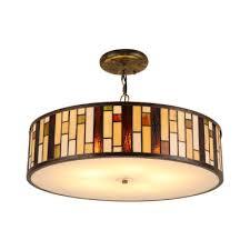 drum suspended lamp glass 3 light drop