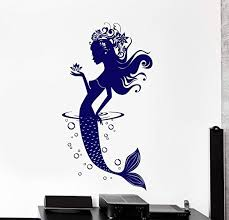Amazon Com Borismotley Wall Decal Mermaid Ocean Fairy Tale Vinyl Removable Mural Art Decoration Stickers For Home Bedroom Nursery Living Room Kitchen Home Kitchen
