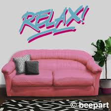Relax Wall Decal 80 S Style Statement Decal Vintage Eighties Frankie Goes To Hollywood Quotation Decal Retro 80s