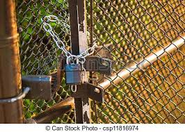 Padlock On Wire Fence Padlock And Chain Holding Wire Fence Gate Closed