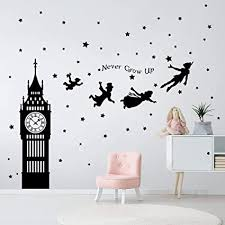 Amazon Com Decalmile Peter Pan Characters Wall Decals Big Ben Clock Never Grow Up Quotes Stars Wall Stickers Baby Nursery Room Kids Bedroom Wall Decor Arts Crafts Sewing