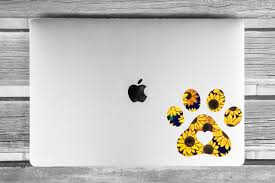 Sunflower Print Dog Paw Print Vinyl Decal The Naked Dog Boutique