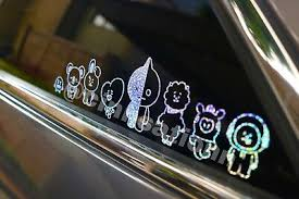 Kpop Bangtan Boys Bts Bt21 Cartoon Decal Sticker Small Holographic 15 00 Picclick