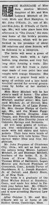 Wedding of John O'Keefe Jr and Sara Adeline Mitchell - Newspapers.com