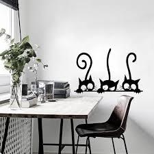 Lovely 3 Black Cute Cats Wall Sticker Walling Shop