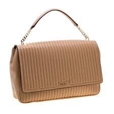 dkny beige pinstripe quilted leather