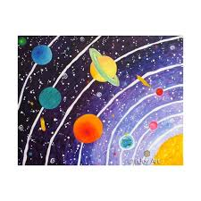 Purple Solar System Art Print For Kids Room 8x10 Inch Space Etsy