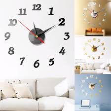 Diy 3d Roman Numbers Watch Wall Clock Home Decor Mirror Wall Sticker 4 Colors Acrylic Mirror Wall Sticker Wall Clock Wall Stickers Aliexpress