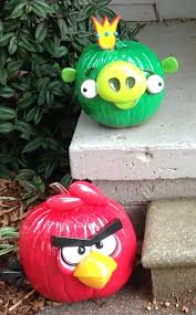 Our pumpkins decorated like Angry Bird and Pig