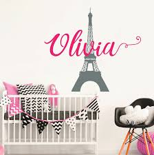Girl Name Wall Decal Eiffel Tower Decal Kids Room Decor Etsy Name Wall Decals Kid Room Decor Nursery Wall Decals
