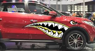 17 28 Free Shipping Shark Mouth Sharp Teeth Side Car Decoration Decal Sticker Yellow At M Fasttech Com Fasttech Mobile