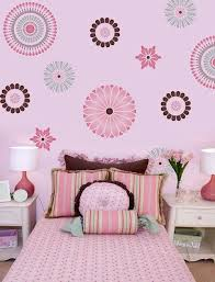 Japanese Stencil Wall Painting Idea For Kids Room Sweet Pink Bed Linen With Small Motifs White Bedside Tables S Floral Wall Stencil Stencils Wall Mural Stencil
