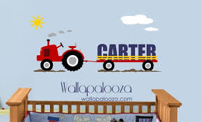 Custom Name Tractor Kids Wall Decal Vinyl Wall Decal Boys Room Wall Decal Tractor Decal Kids Wall Decals Boy Room Wall Decor Vinyl Wall Decals Boys Room