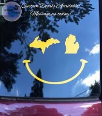 Michigan Mitten Wink Smiley Face Decal Upper Peninsula Free Shipping Ebay