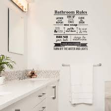 Amazon Com Vinyl Wall Art Decal Bathroom Rules Close The Door Put The Seat Down Wash Your Hands 23 X 20 Modern Inspirational Funny Quote Sticker For Bedroom Office Bathroom