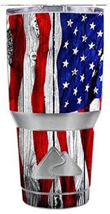 Amazon Com Skin Decal Vinyl Wrap For Ozark Trail 30 Oz Tumbler Cup 6 Piece Kit American Flag On Wood Kitchen Dining