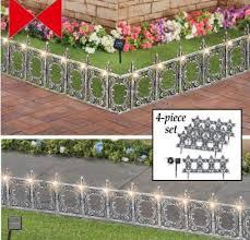 Amazon Com Decorative 4 Piece Solar Wrought Iron Metal Look Garden Border Fence Industrial Scientific