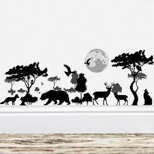 Amazon Com Bibitime Vinyl Black Silhouette Sticker Forest Big Tree Moon Birds Bear Dog Wolf Elk Deer Wall Decal Borders Wallpaper For Living Room Nursery Decor Children Bedroom Art Murals Diy Home