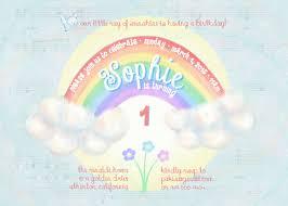 Arco Iris Caprichoso Pastel Cumpleanos Invitacion 5 X 7 Etsy