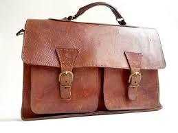 leather bag briefcase 1960s school bag