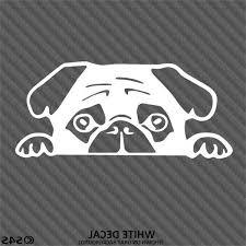 Peeking Pug Puppy Cute Vinyl Decal Sticker
