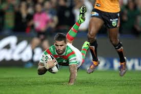 Touching down ... Adam Reynolds scores for the Rabbitohs - ABC News  (Australian Broadcasting Corporation)