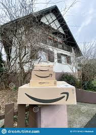 Multiple Stacks Of Amazon Prime Cardboard Parcels On The Stone Fence Editorial Photography Image Of Stack Editorial 177116142