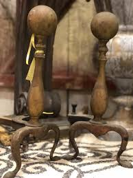 vintage brass fireplace andirons