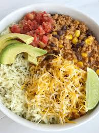 turkey taco burrito bowls together as