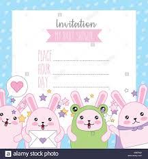 Tarjeta De Baby Shower Invitacion Kawaii Cute Conejos En Trajes