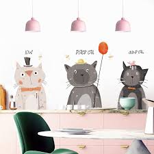 Cartoon Cute Cats Animals Party Wall Stickers For Living Room Bedroom Kids Room Decor Vinyl Wall Decals Art Home Decor Leather Bag