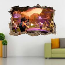 Fortnite Combat Video Game 3d Smashed Hole Wall Sticker Decal Diy Mural J1307 Ebay