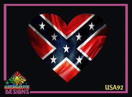 Confederate Flag Heart Printed Vinyl Decal