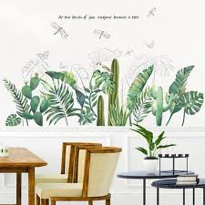 Green Tropical Leaf Wall Sticker Dragonfly Decal Green Lover Plant Home Decor Art Living Room Removable Vinyl Mural Bedroom Head Wall Decor Thefuns On Artfire